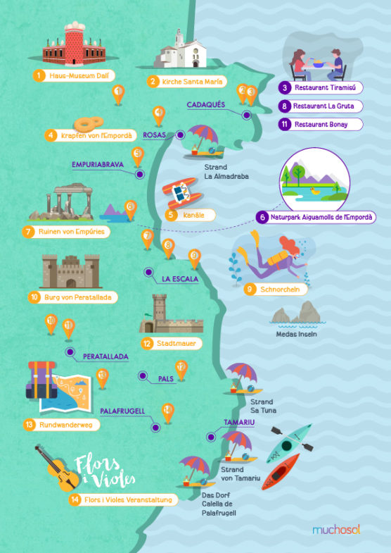 Karte Costa Brava Spanien.Die Schonsten Strande Und Buchten An Der Costa Brava